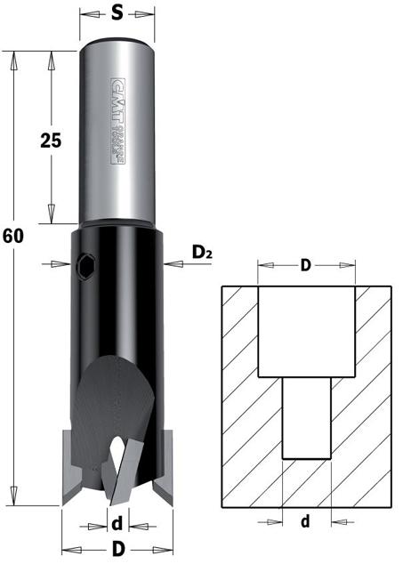 CMT 90° -Senker mit Zylinderschaft