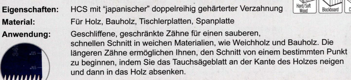 """CMT 34 mm Präzisionssägeblatt für Tauch- und Bündigschnitt in Holz, """"japanische"""" Verzahnung"""