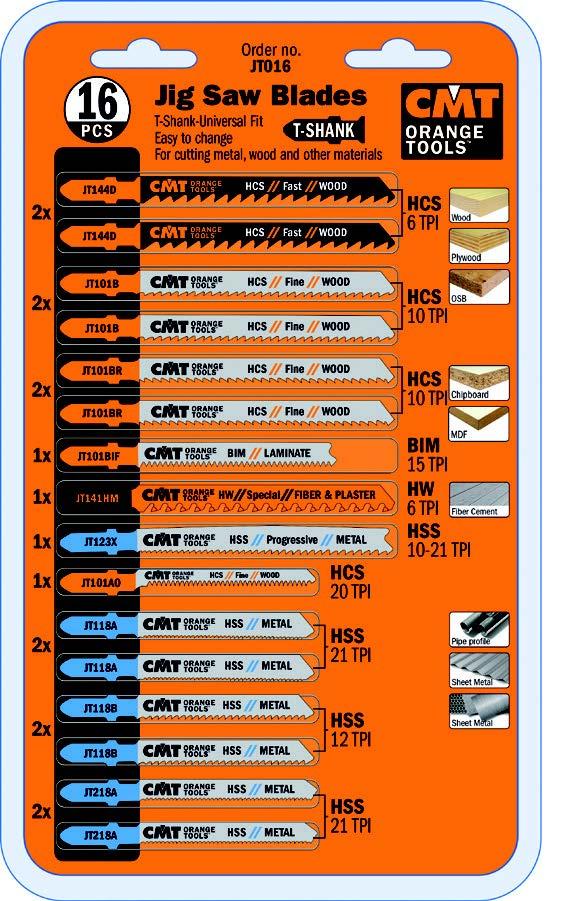 CMT JT016 16-Teiliges Stichsägeblätter-Set