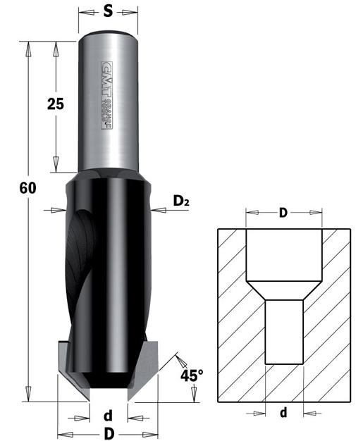 CMT 45° -Senker mit Zylinderschaft