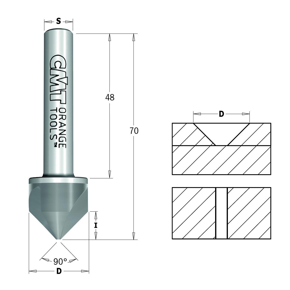 CMT 90° -Senker mit Zylinderschaft HWM